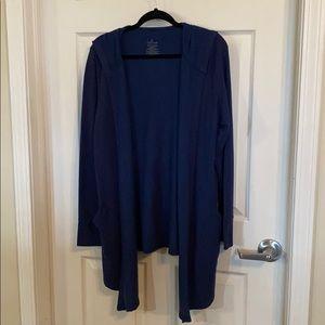 Cuddl Duds hooded navy fleece cardigan large